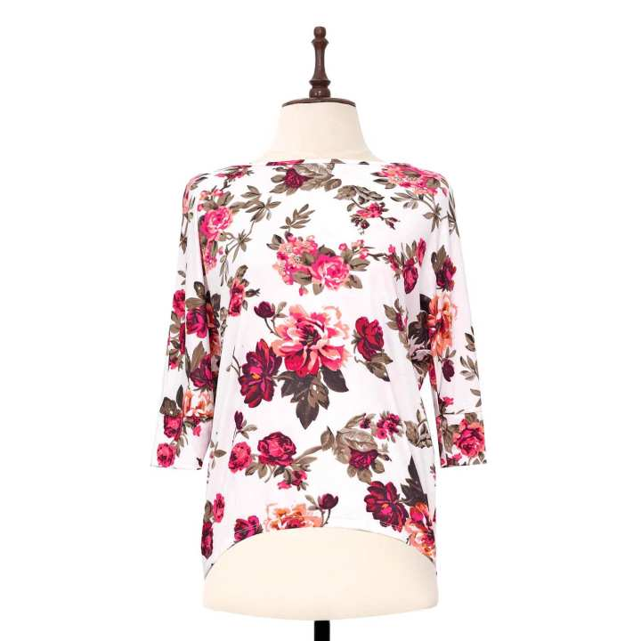 BLACK SHEEP Rose Print Knit Pull-over Top