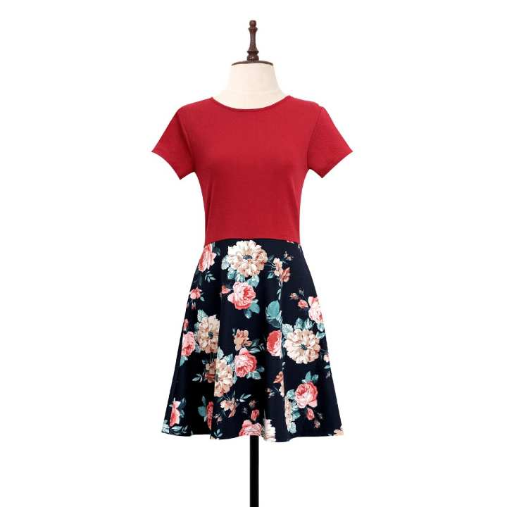Black Sheep Crepe & Floral Neoprene Combi Skater Dress in Red