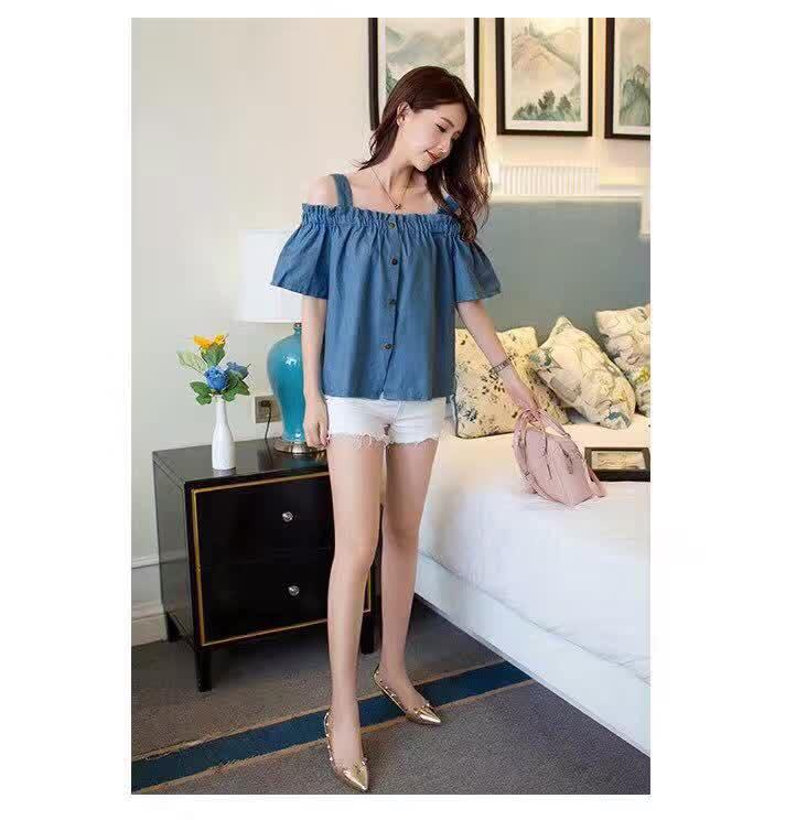 fa5c544cd21 JT Chambray Cold Shoulder Top: Buy sell online Blouses & Shirts with cheap  price | Lazada PH