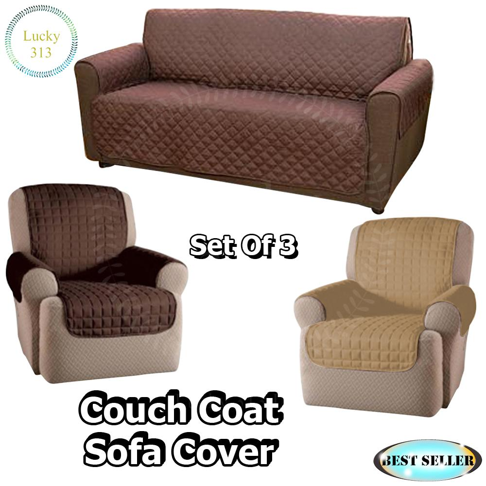 Couch Coat Reversible Washable Sofa Cover Plus 2pcs Couch Coat