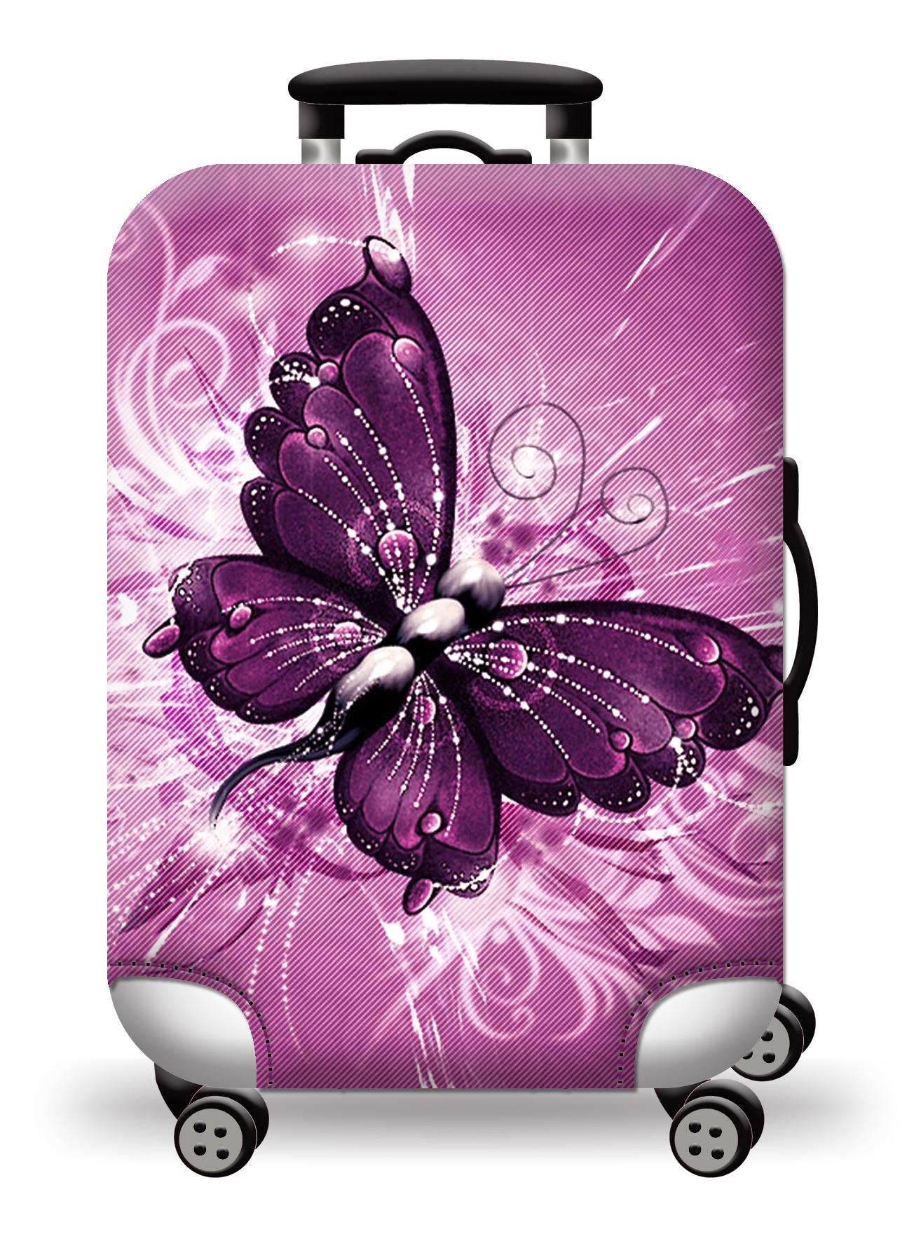 (Cover only) Elite Luggage Cover / Suitcase Cover Pink Butterfly