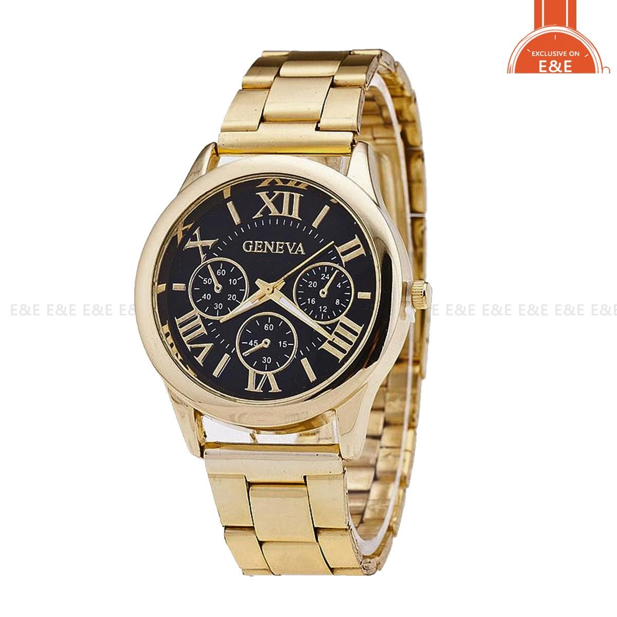 Geneva Roman Numerals Women's Gold/black Steel-belt Watch SY-3