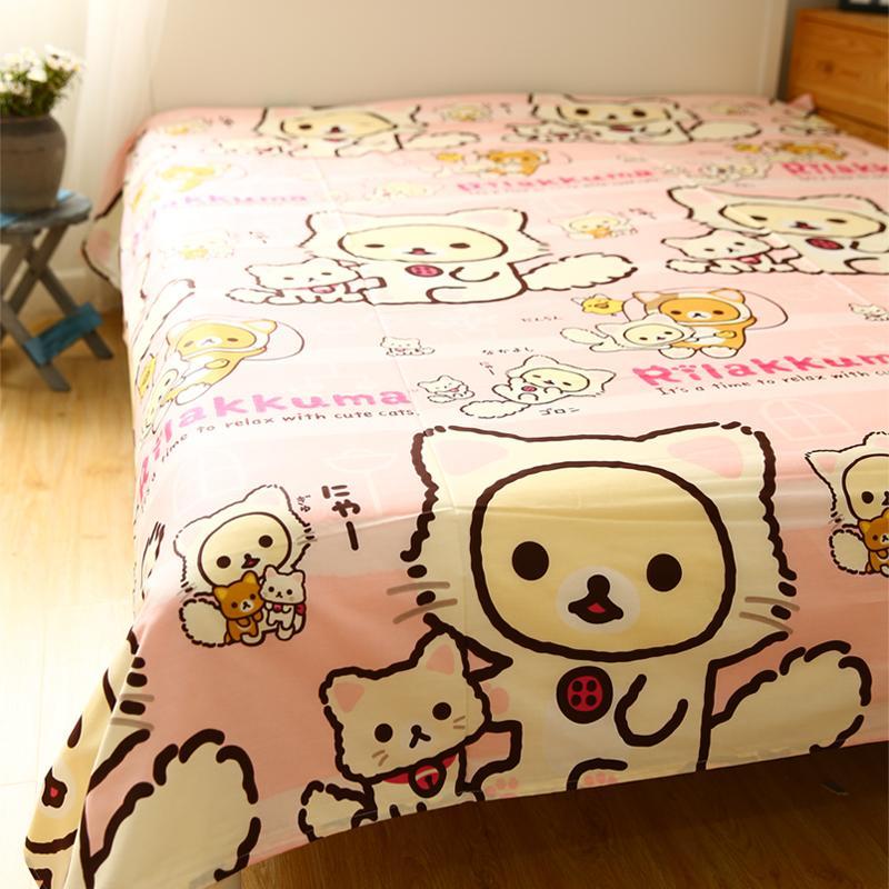 Xiaomi Màn Thầu Màu Cam Gấu Hoạt Hình Đáng Yêu Cô Gái Kuma Rilakkuma Ga Trải Giường Đơn Chiếc 100% Cotton Trên Giường Cung Cấp