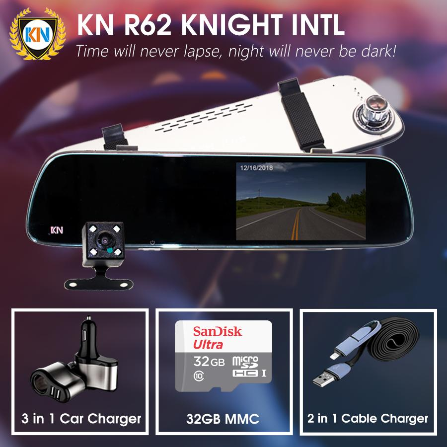 KN Knight R62 International Rearview Mirror Dual Dashcam / 3 in 1 Car Charger / 2 in 1 Cable Charger / 32GB Micro SD Card