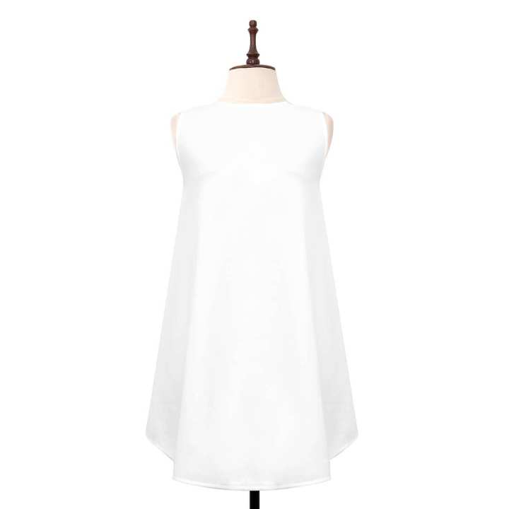 BLACK SHEEP Sleeveless Trapeze Dress in White