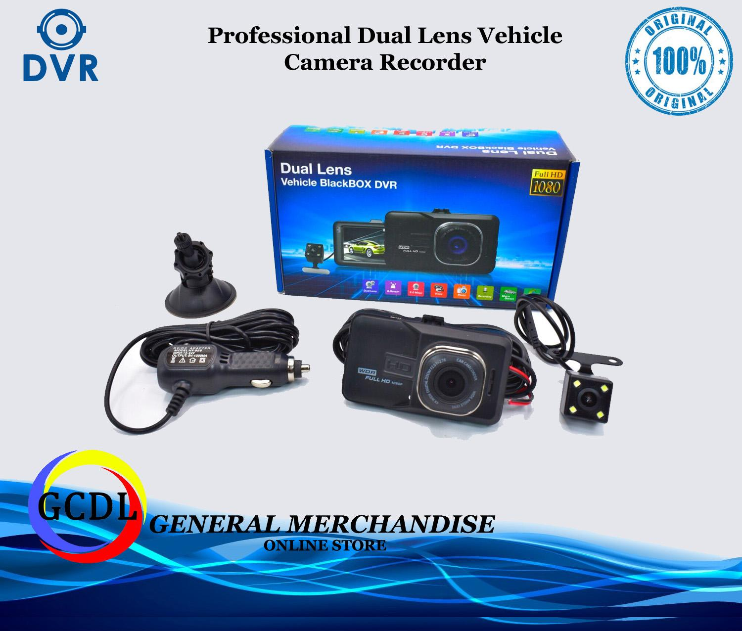 Dual Lens Car DVR Cam Dashcam 1080P Full HD Camcorder Vehicle Camera Night Version Dashboard Dash Cam With 170 Degree Angle View (black)