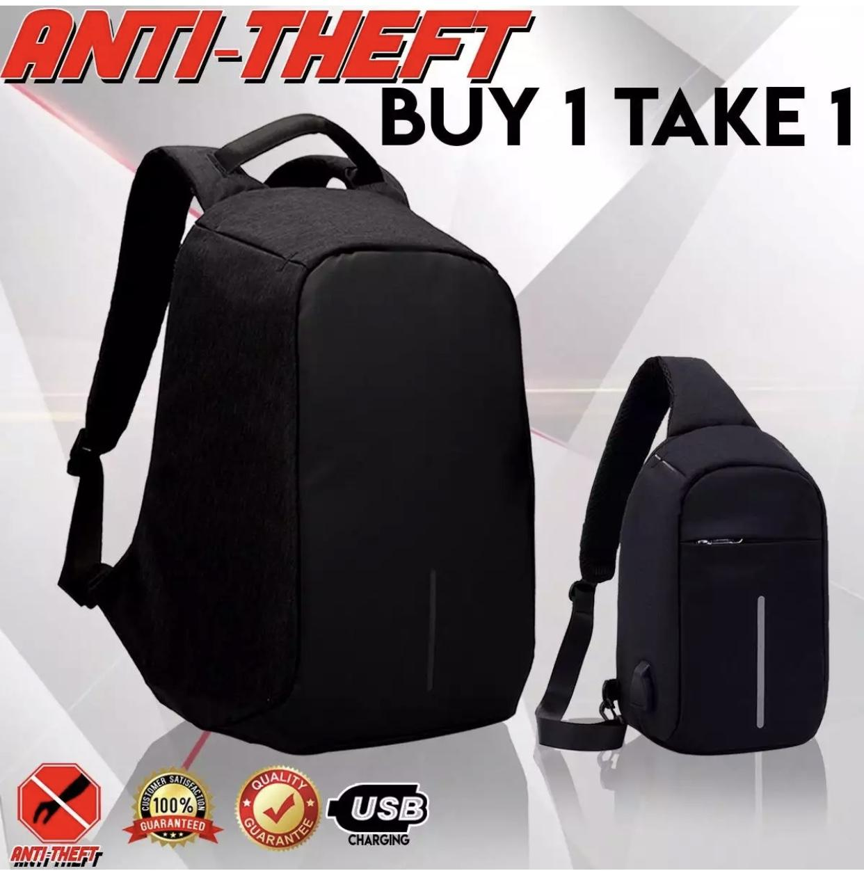 #110(Lager) Free #119(Small)  Travel Anti Theft Backpack and Cross Chest Security Bag  Buy 1 Take 1 -Edison Online Shop
