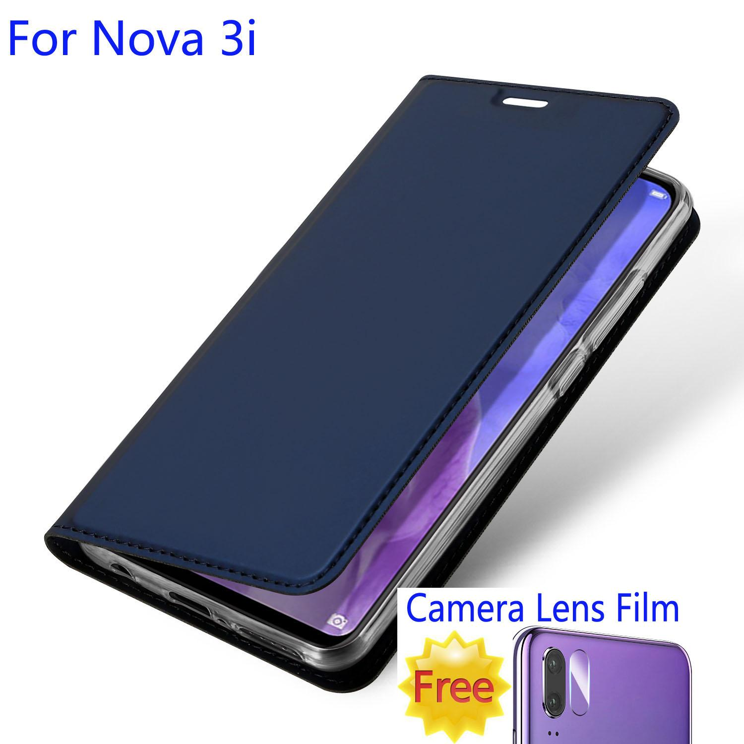 sale retailer 2c0dd 20208 For Huawei Nova 3i Wallet Case Leather Flip Stand Cover with Camera Lens  Soft Tempered Glass Protector Film