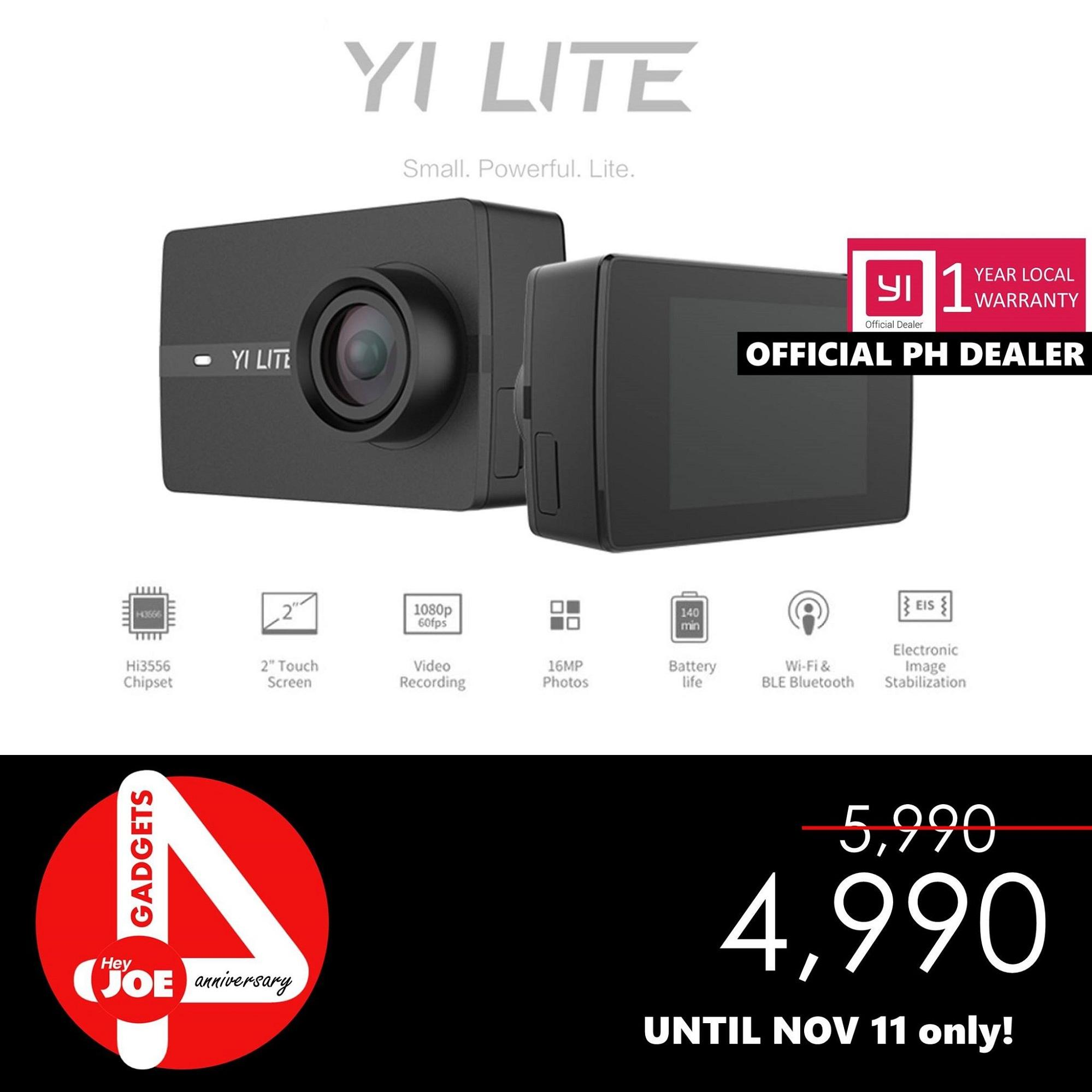 YI Lite Action Camera 16MP Real 4K Sports Camera with Built-in WIFI Touch LCD Screen International Version _BLACK
