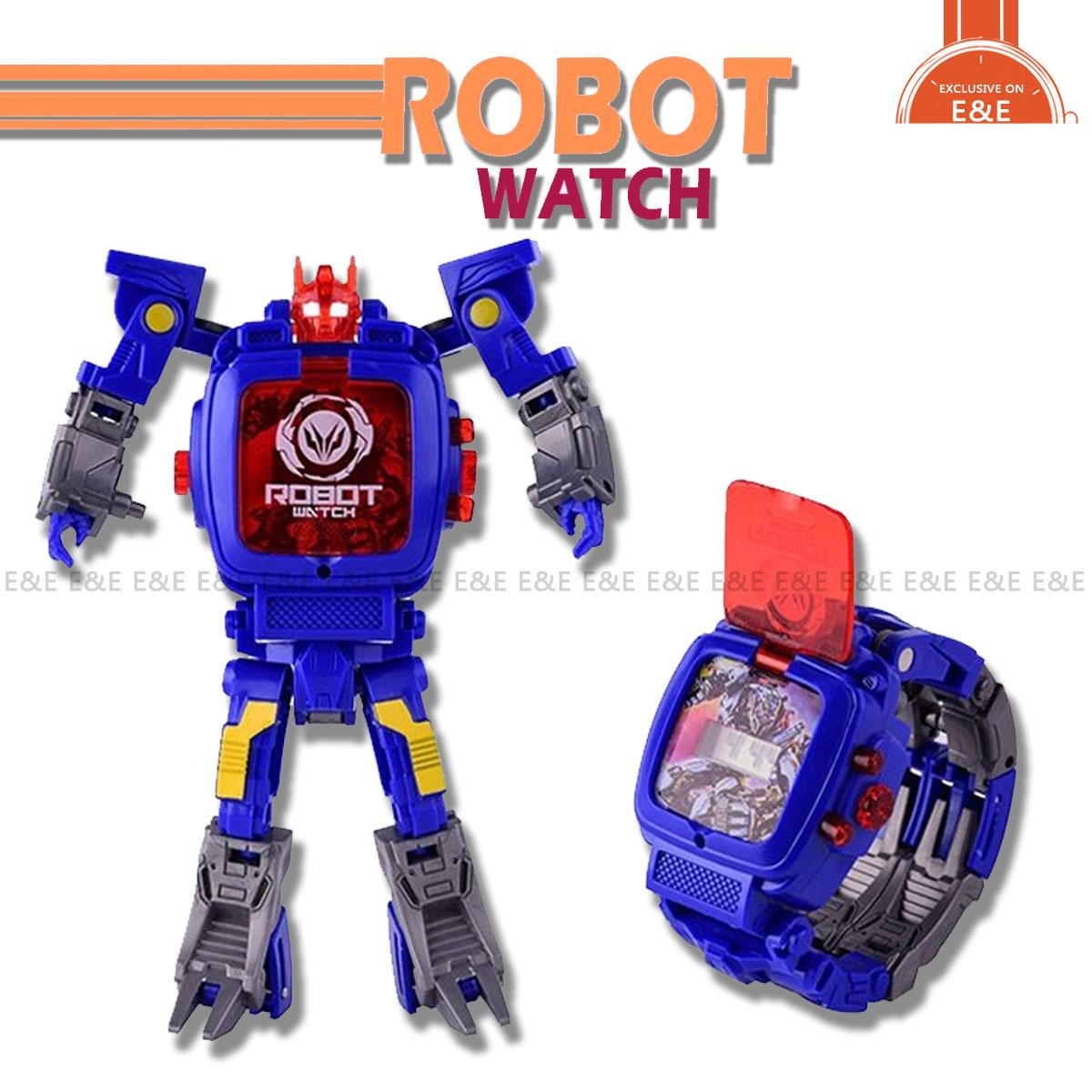 E&E Transforming Robot Watch Toys LED digital Watch 2 in 1