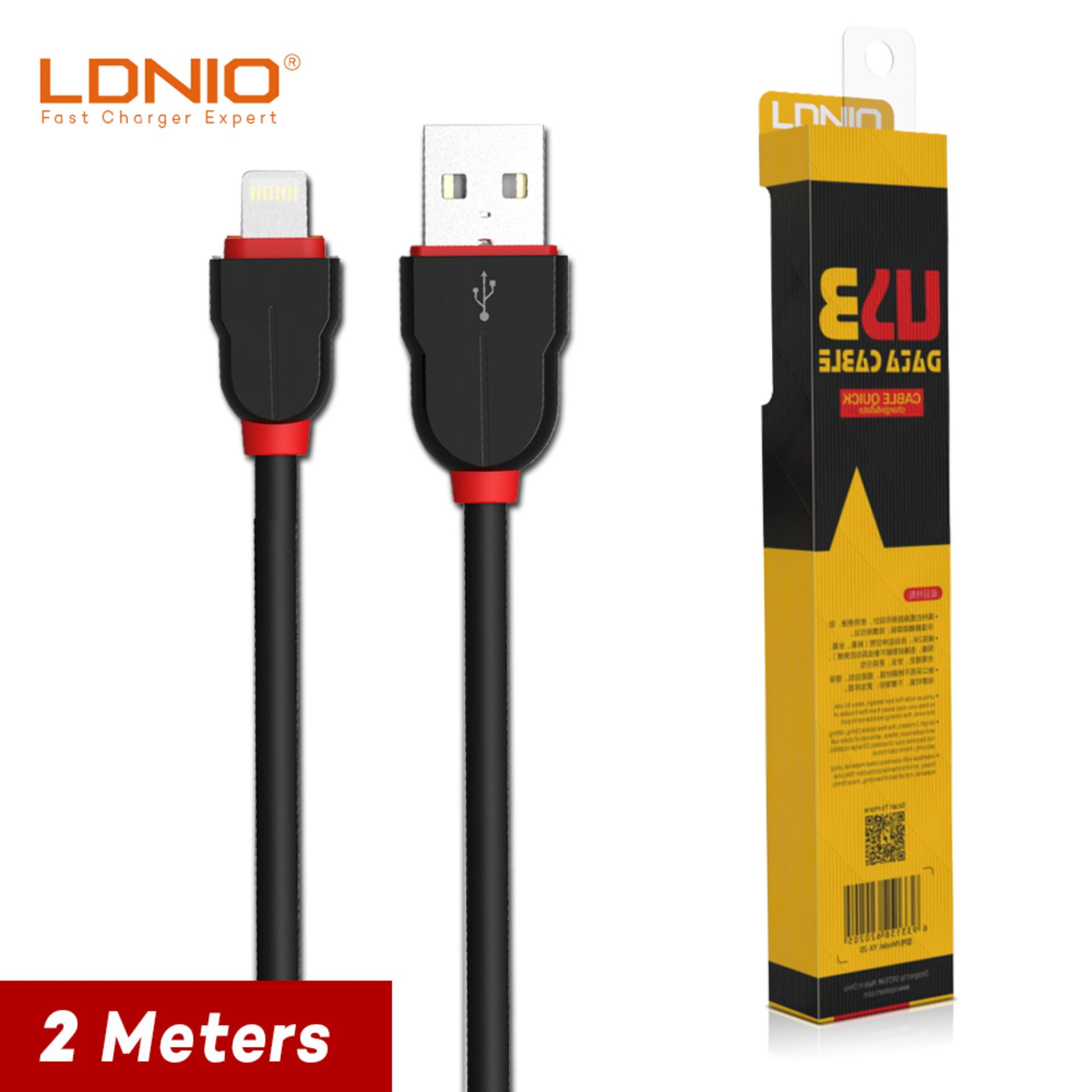 LDNIO LS02 2M Fast Charge Lighting USB Cable for iPhone 6/6s/7 (Black/Red)