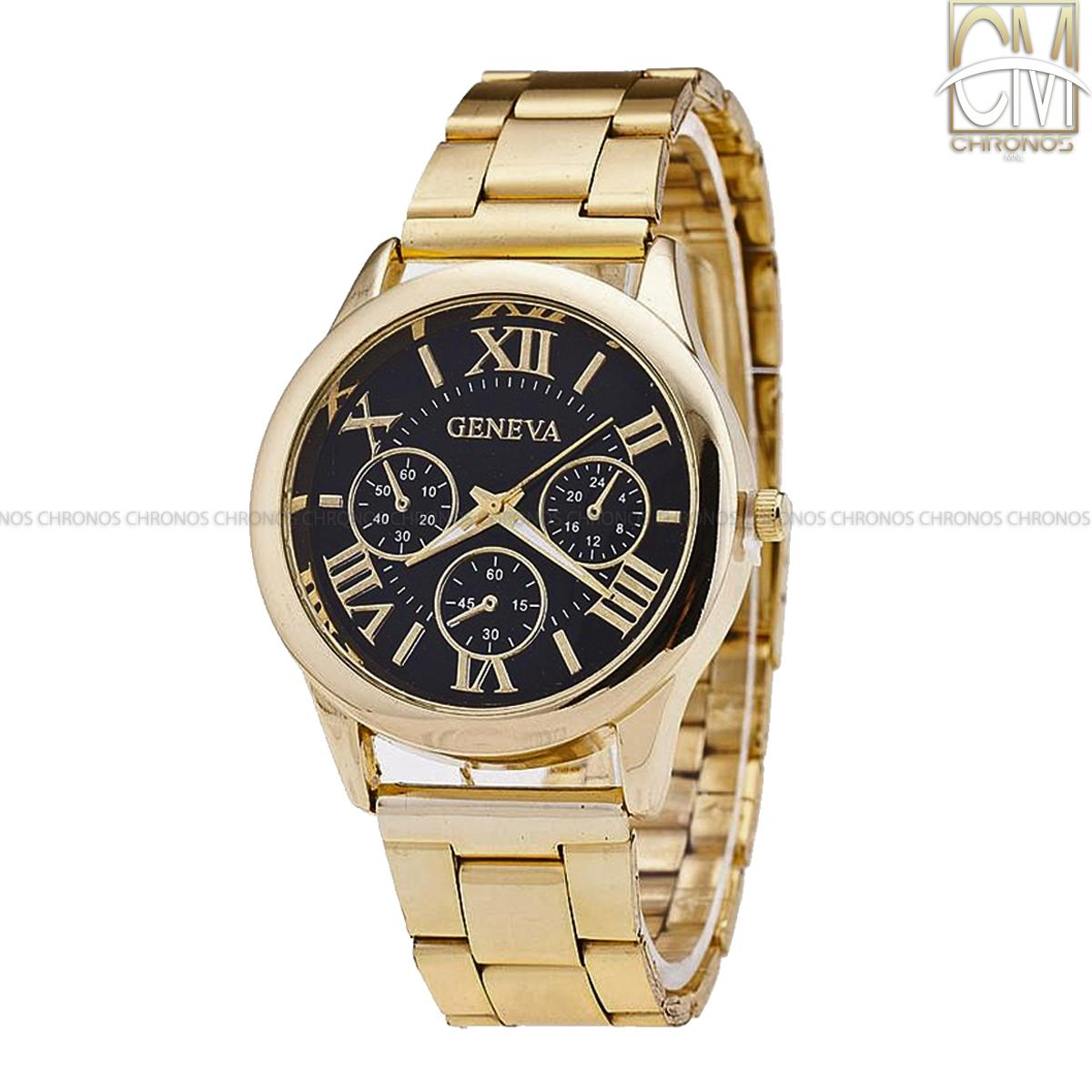ChronosMNL Geneva Roman Numerals Women's Gold/black Steel-belt Watch SY-3