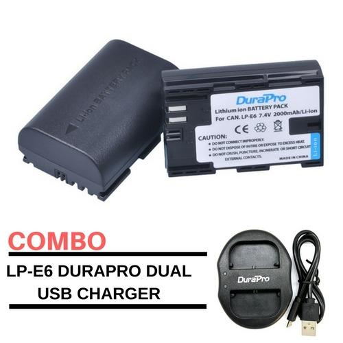 DuraPro Canon LP-E6 2pcs Battery and Dual USB Charger for Canon Cameras (Lee Photo) LPE6
