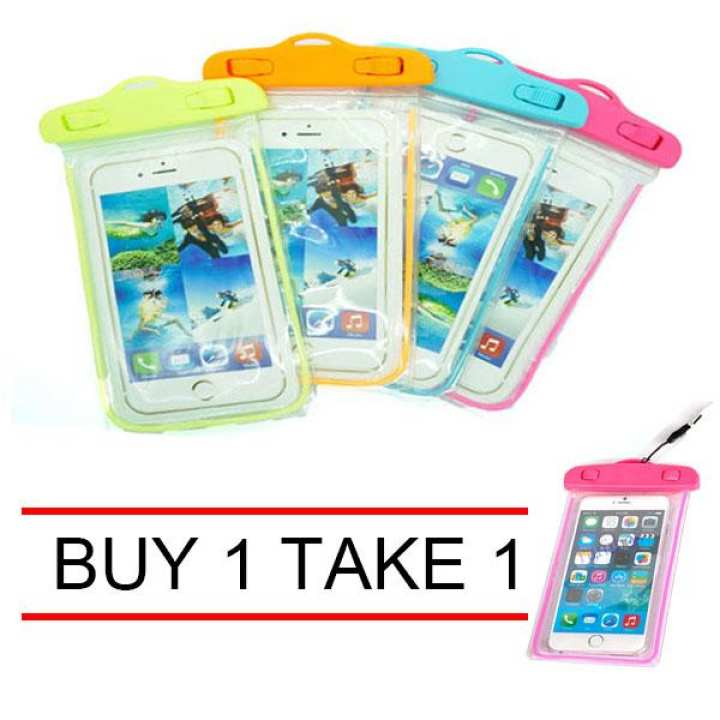 Buy 1 Take 1 Glow in the Dark Water Proof Case Pouch for Mobile Phone( random color)