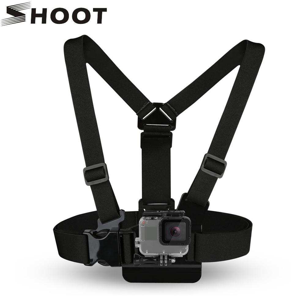 SHOOT Adjustable Elastic Chest Mount Harness Strap for Go Pro Hero 5 6 4 Session Fusion Yi 4K SJ4000 H9 Action Camera Basic Accessory