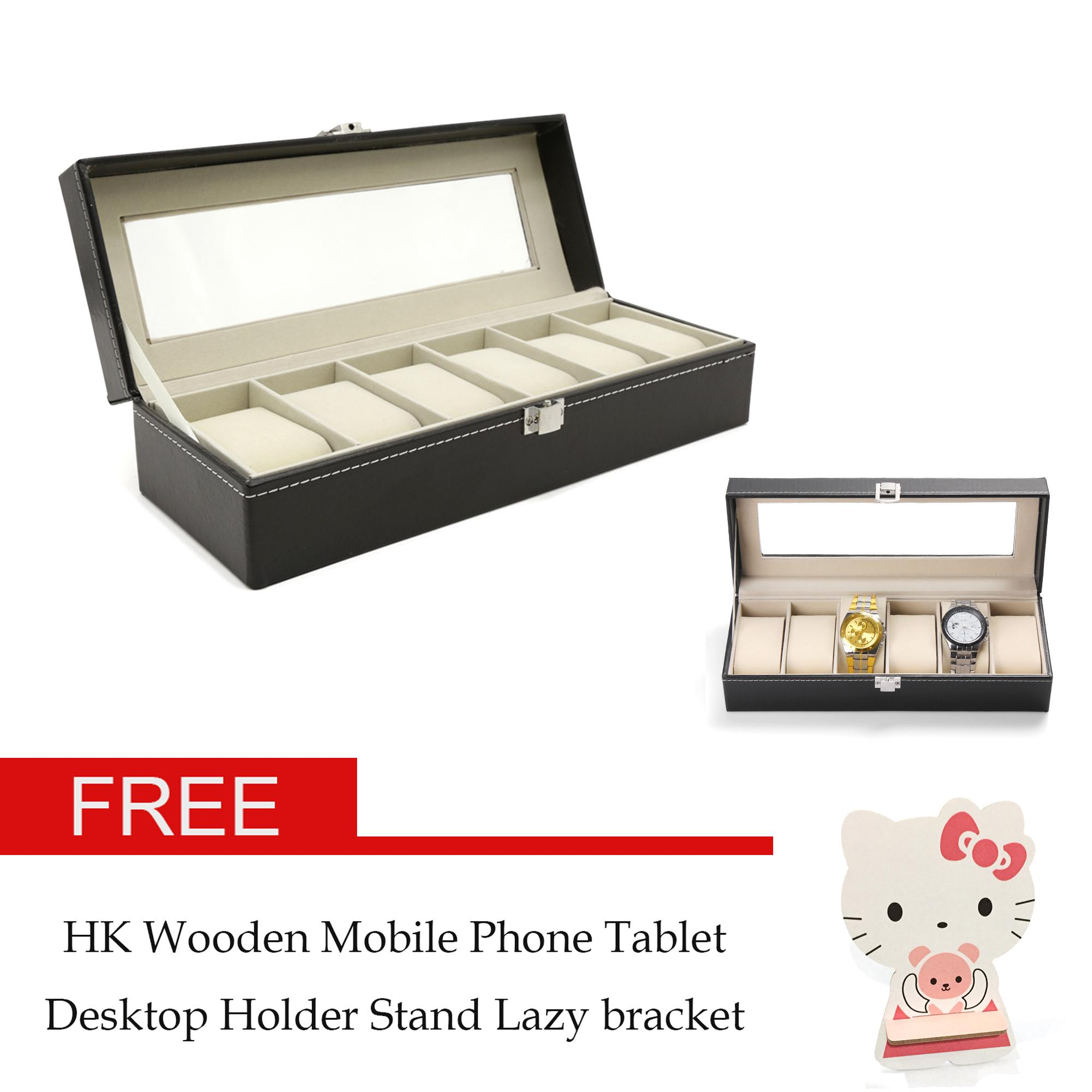 AMOG 6 Grid Slots Jewelry organizer Watches Box Display Storage Box Case Leather Jewelry Case Organizer With 1 pcs free random Wooden Mobile Phone Cellphone Tablet Desktop Holder Stand Lazy bracket