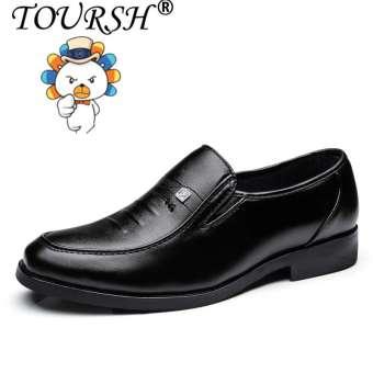 TOURSH ธุรกิจลำลองผู้ชายรองเท้าหนังรองเท้าทางการ (สีดำ) 【】