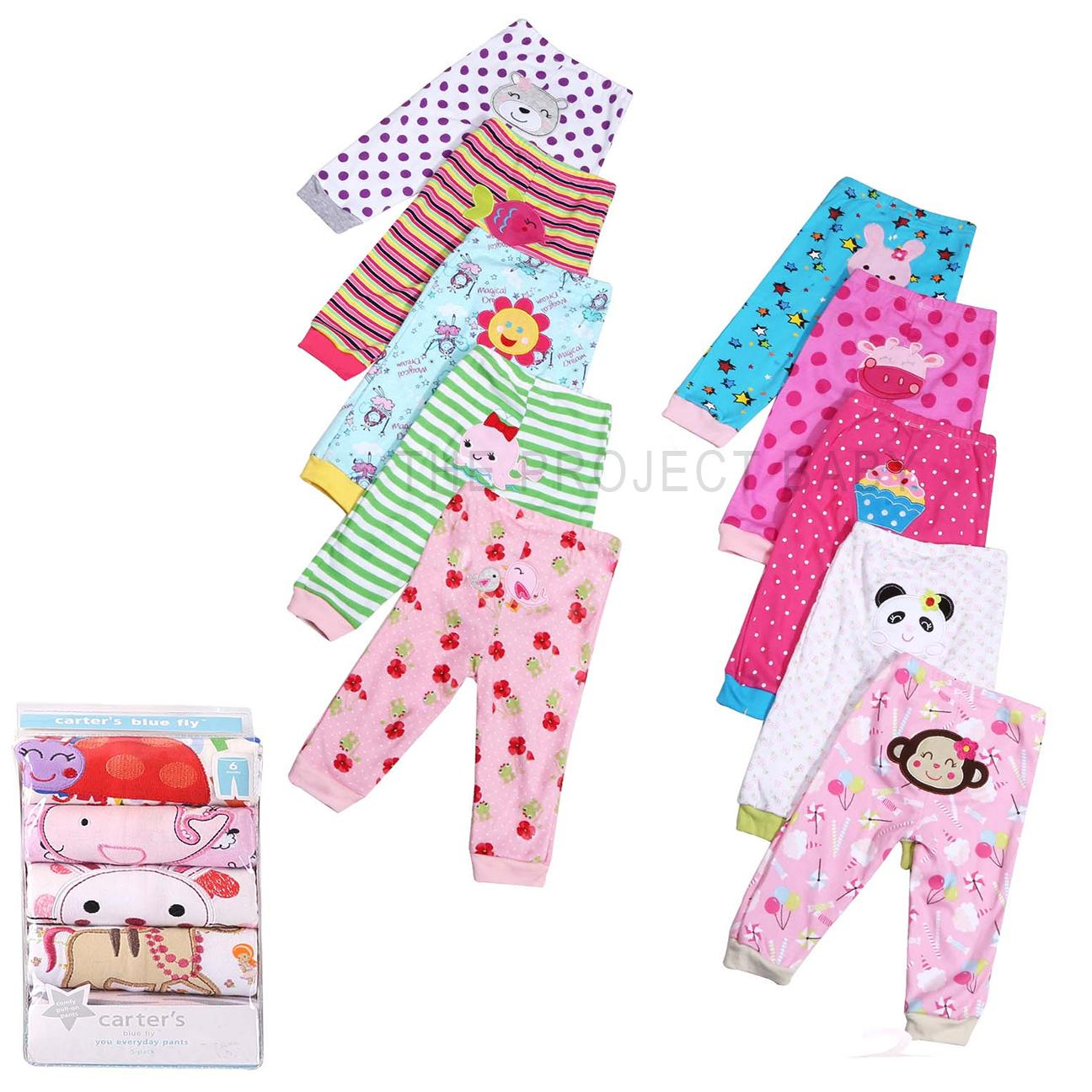 5 Pack Carter S Bluefly 100 Cotton Baby Girl Pants Sleepwear Bottom