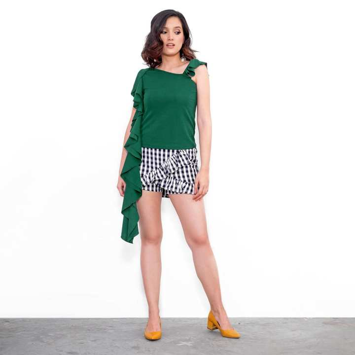 BLACK SHEEP Asymmetrical Top with Ruffled Sleeves in Emerald Green