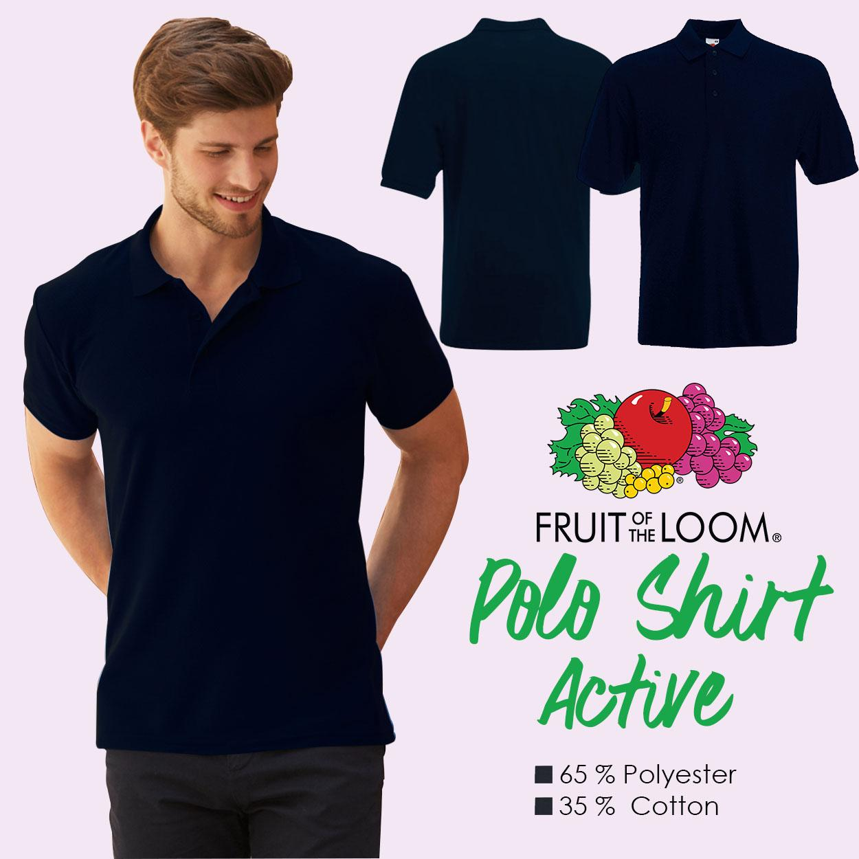 bbd262456a2 Product details of Fruit of the Loom Unisex Active Polo Shirt tshirt plain  tee tees Mens t shirt shirts for men tshirts t-shirts sale plain top Navy  Blue
