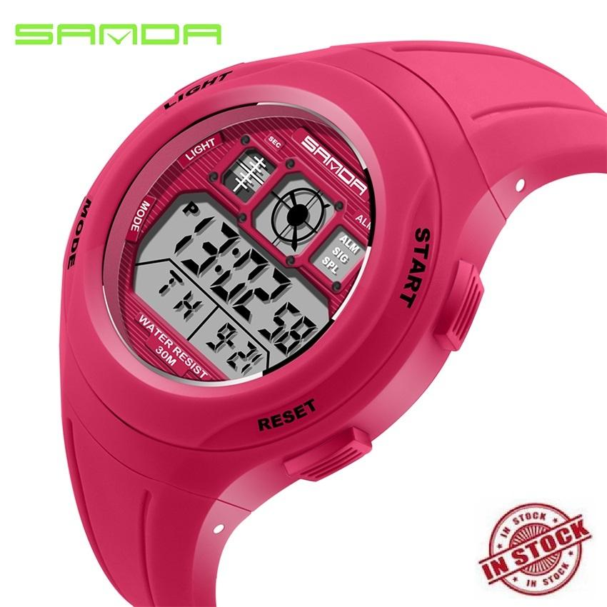 TTLIFE NEW ARRIVAL SANDA 331 Primary School Students Kids Candy Color Waterproof Sports Watch (red)