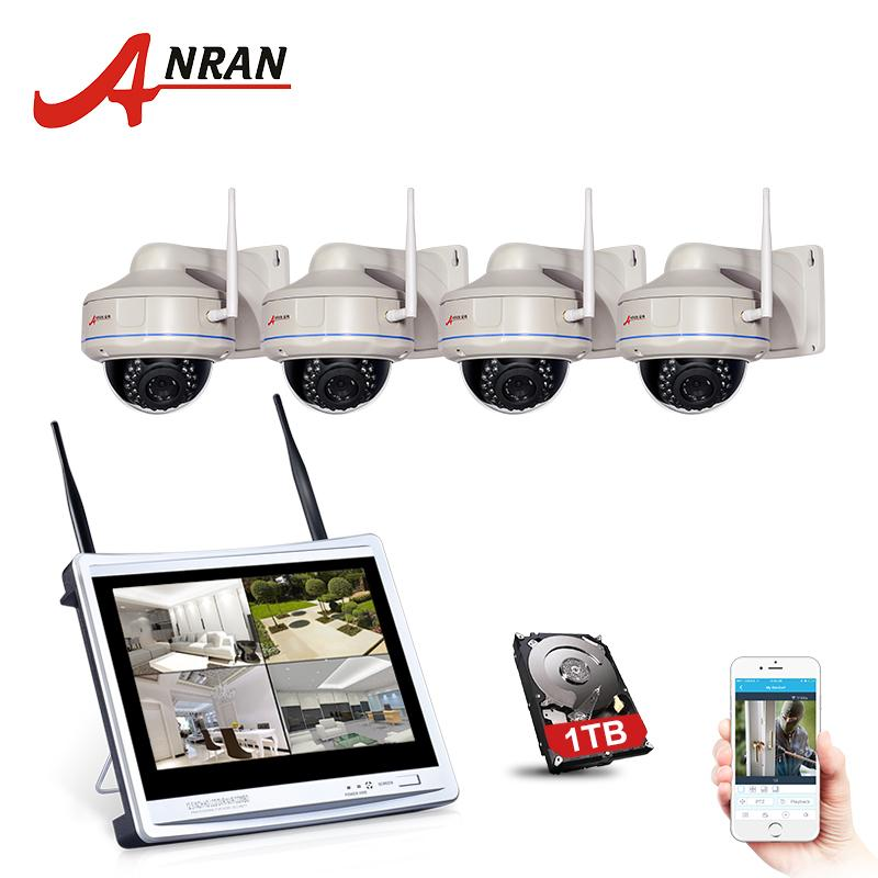 ANRAN Wifi IP CCTV Security Camera System Surveillance Kit 4CH Wireless 12Inch LCD Screen NVR Kit Outdoor Security Camera System