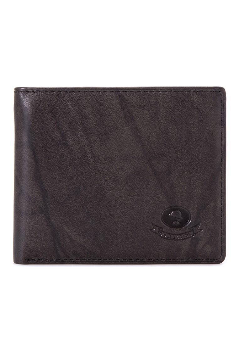 McJIM W-28-2068 Crunch Leather Billfold Wallet (Black)