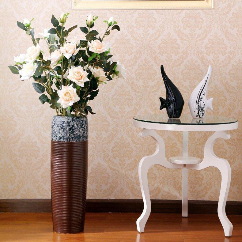 HYUNDAI European Style Art Ceramic Large Floor Vase Jingdezhen Modern Minimalist Vintage Living Room Soft Loading Decoration