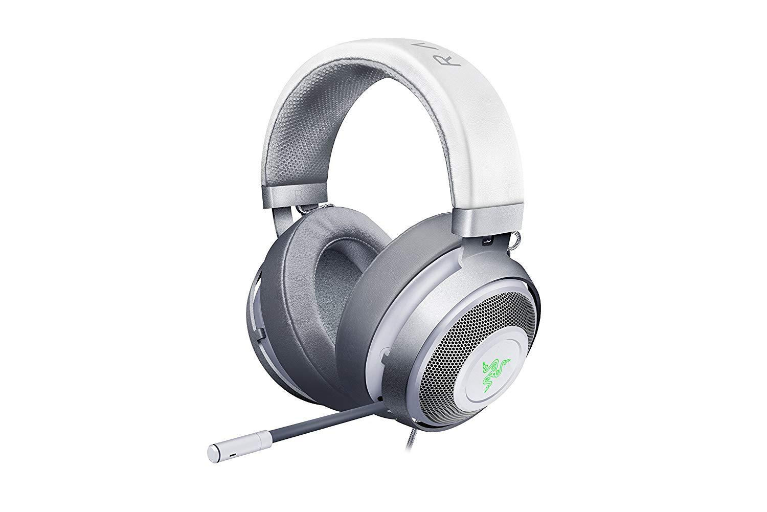 Razer Kraken 7 1 V2 Mercury White Discord Certified Razer Chroma USB Port  (OVAL earcups) Over-The-Ear Gaming Headsets