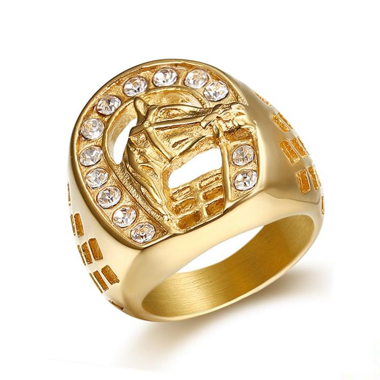 Men's Fashion Stainless Steel 18K Gold plated Horsship AAA Zircon Statement Ring US Size 7-