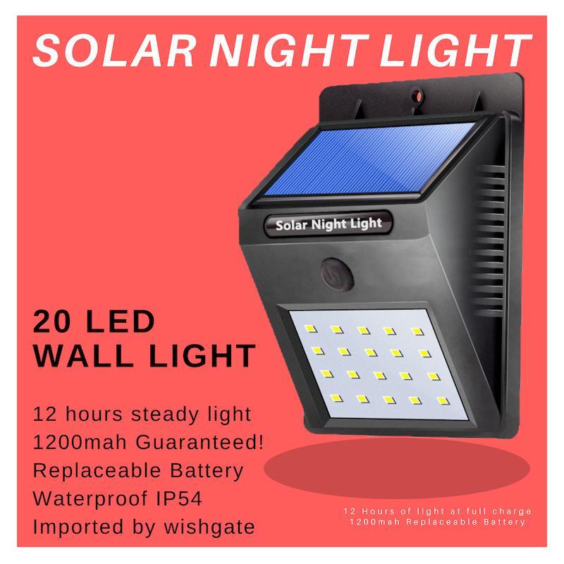 WISHGATE Solar Steady Night Light, 20 LED, Waterproof, version 6 13 2019