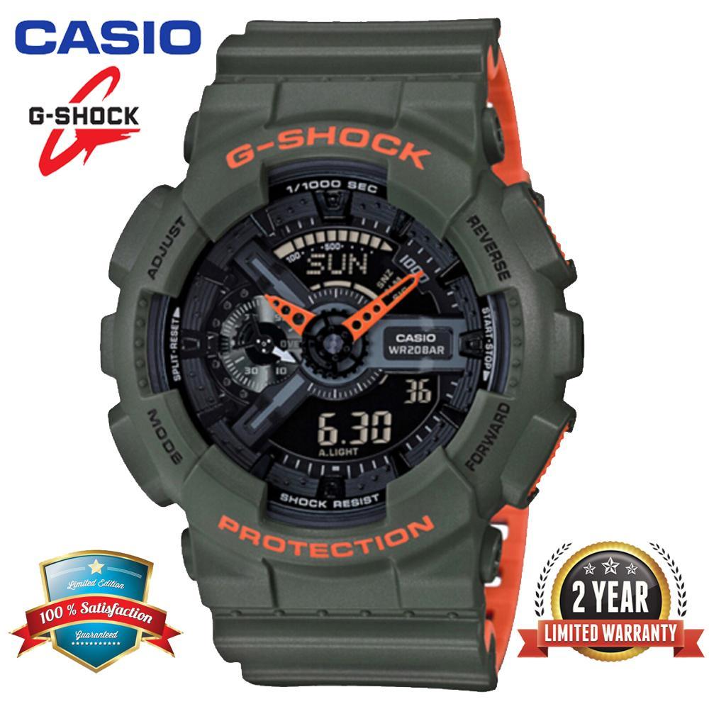 Casio_ Đồng hồ đeo tay thể thao nam G Shock GA110 chính hãng Hiển thị thời gian kép 200M Chống nước và chống nước Thời gian thế giới LED Đồng hồ đeo tay thể thao tự động nhẹ với bảo hành 2 năm GA-110LN-3A Màu xanh lá cây (Sẵn sàng)
