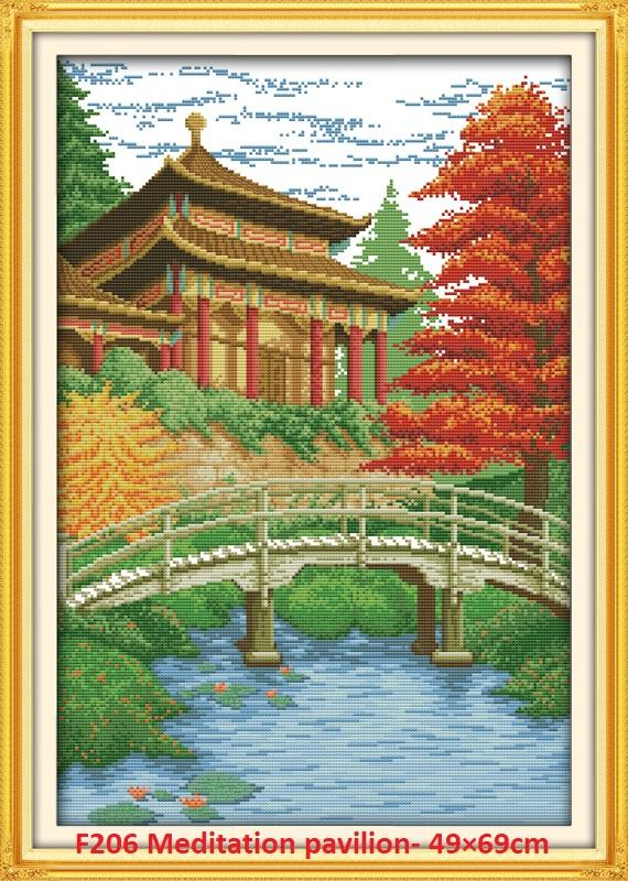Meditation Pavilion Stamped/printed Cross Stitch Complete Set By Stamped To Stitch.