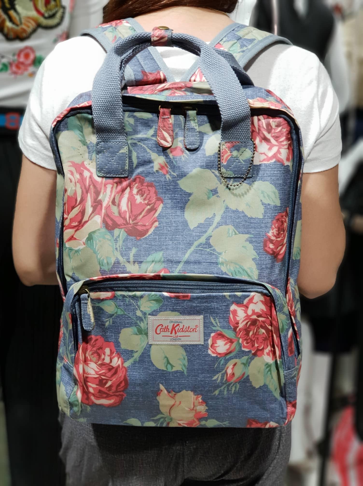 ea253ac1ecf48 Backpack Rucksacks Oxford Rose Print - Denim Cath Kidston Matt Oilcloth