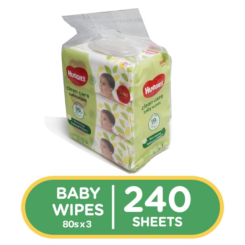Huggies Clean Care Baby Wipes - 80 Sheets X 3 Packs (240 Pcs) By Lazada Retail Huggies.