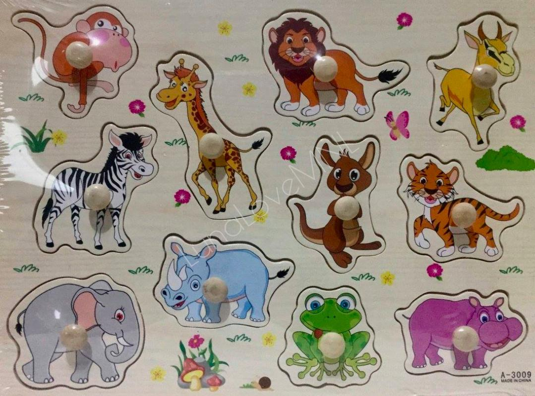 Wooden Peg Puzzles - Animals (11 Pegs) By Luna Love Mnl.