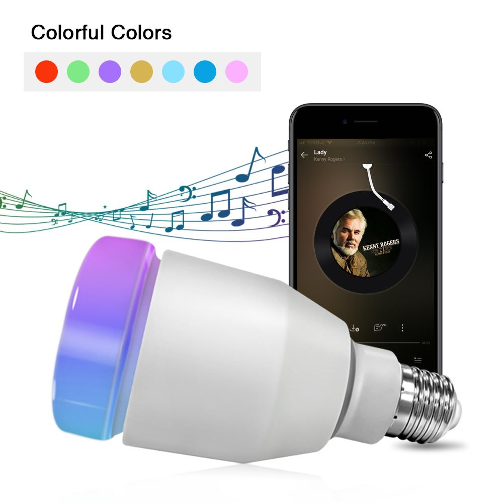 YANYI LED Remote Control Bluetooth Speaker Smart Bulb Light RGB+White Light Color