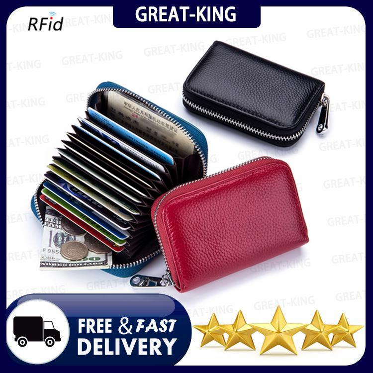6659347a7fe Great-King Genuine Leather Business Organizer RFID Credit Card Holder Cow  Minimalist Women Travel Card