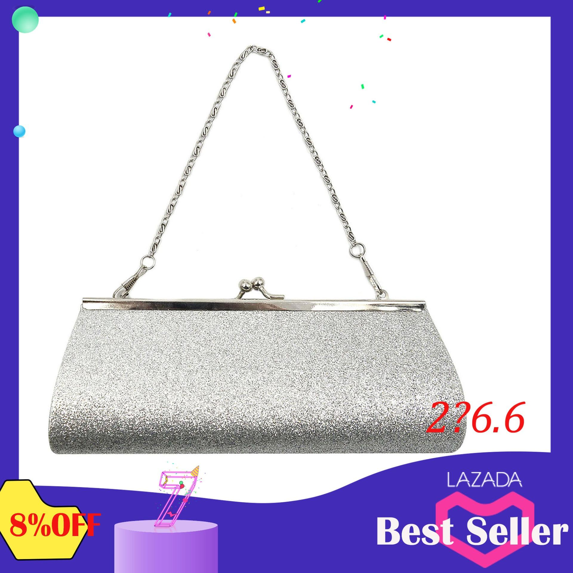 3edc0b1d73b3 Elek Ladies Girls Sparkly Glitter Clutch Handbag Wallet Wedding Bridal Prom  Party Evening Purse Sliver(