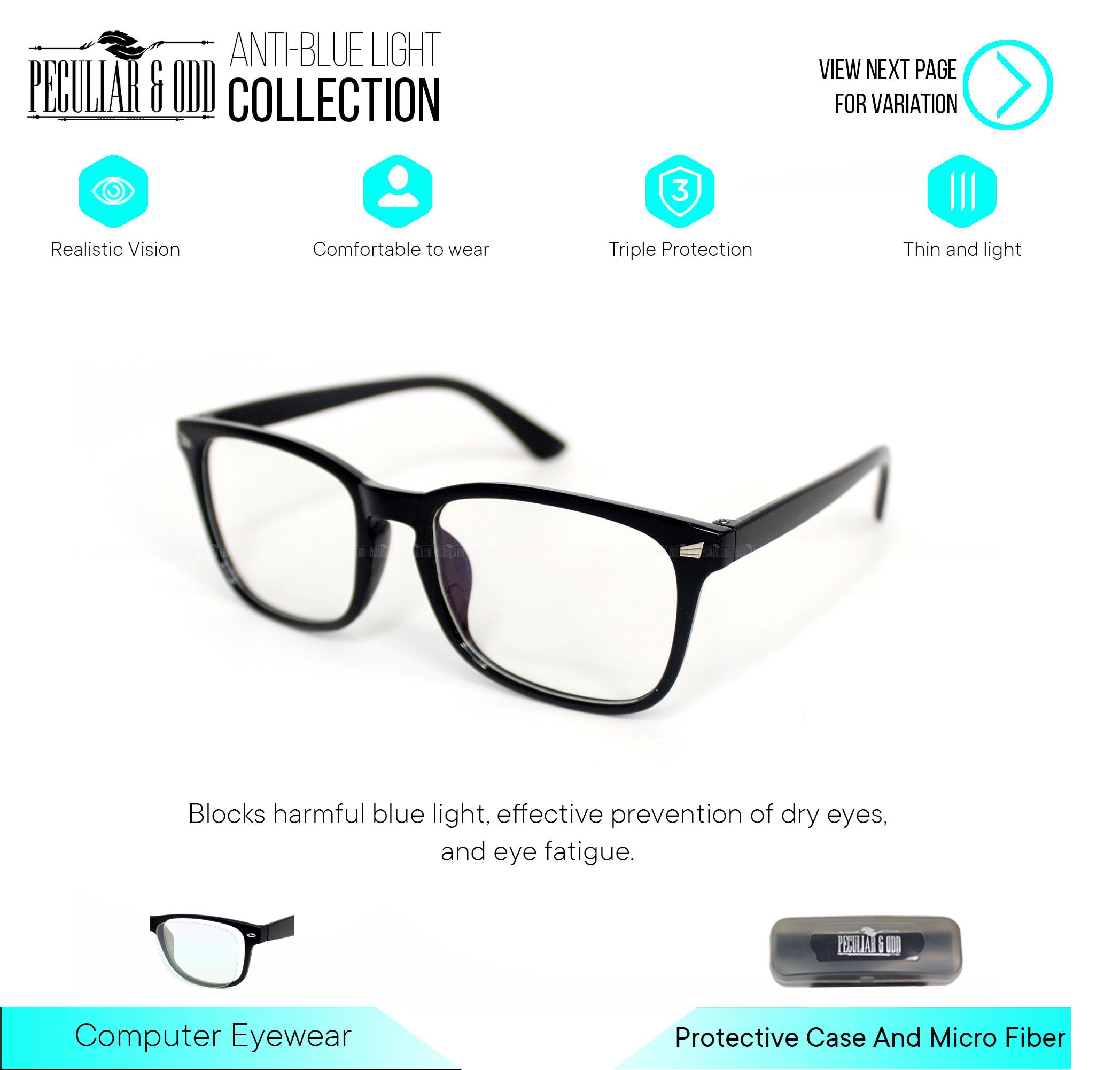 Peculiar Optical Square 15969_sanblack Anti Radiation Blue Lens Computer Eyeglass Replaceable Lenses Unisex Eyewear By Salimars Trading.