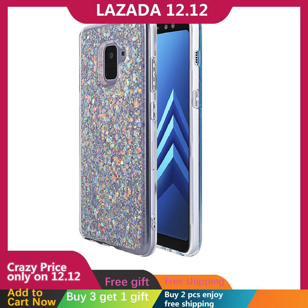 For Samsung Galaxy A8 Plus 2018 Back Case Ultra-slim Fit Bling Shiny Glitter Anti