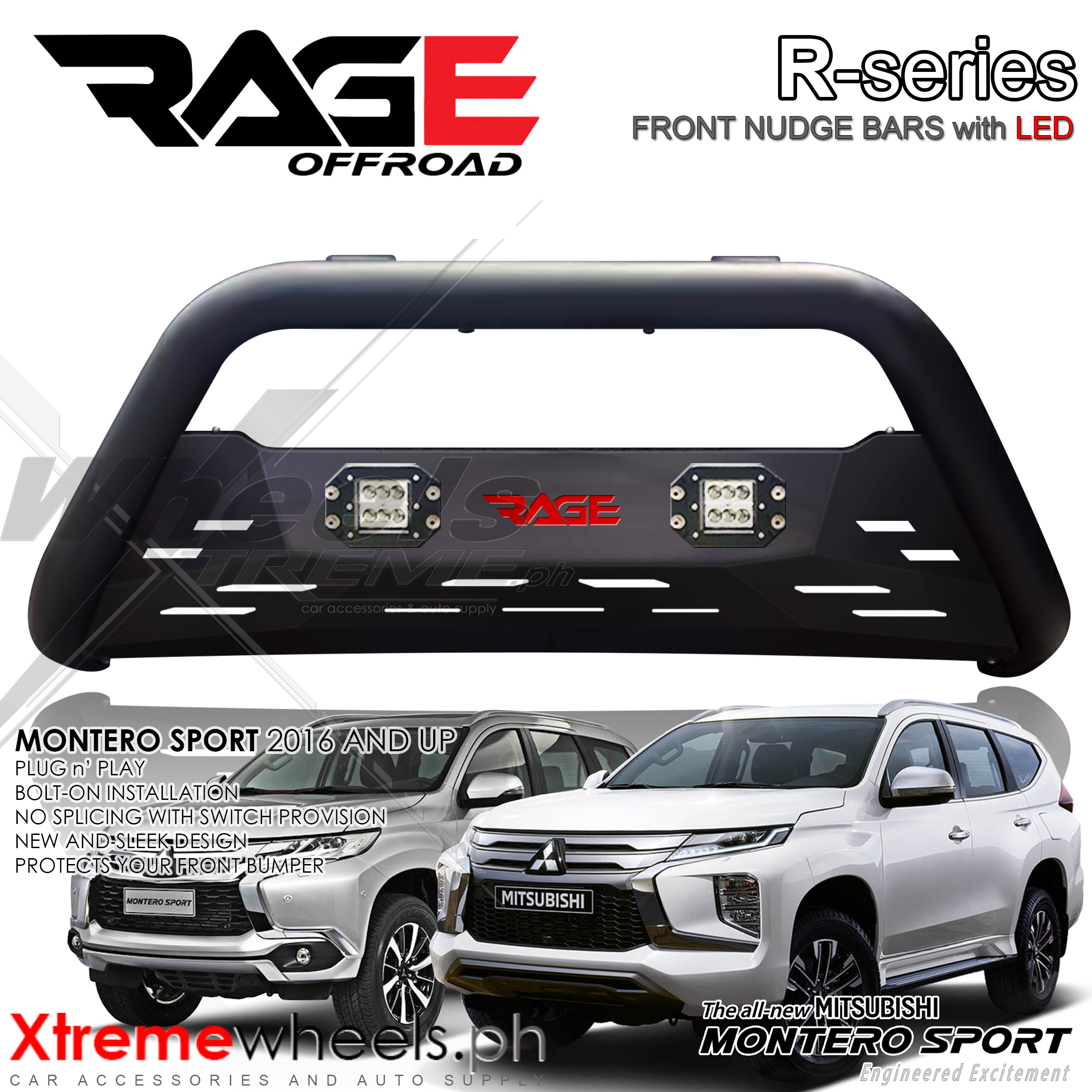 Montero Sport 2016 2020 Rage R Series Nudge Bar Front Bumper Steel Nudge With Led Lazada Ph