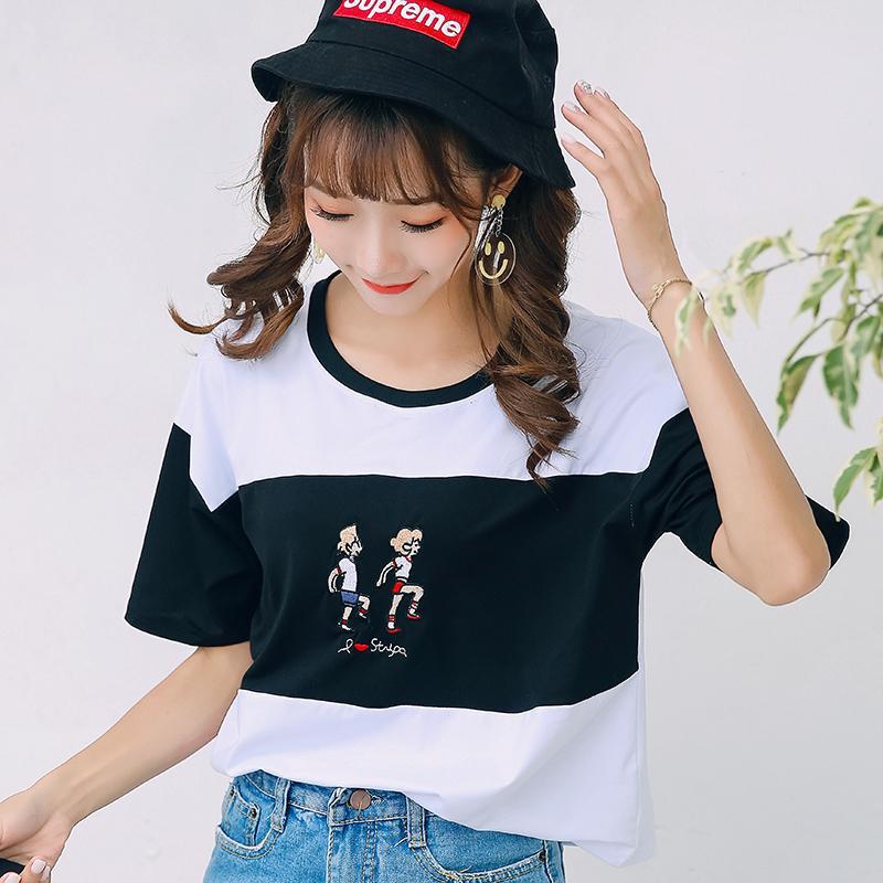 540eb696b0d Summer 2019 New Style Korean Style Crew Neck Short Sleeve Cartoon Printed  Harajuku Wind Students Stripes