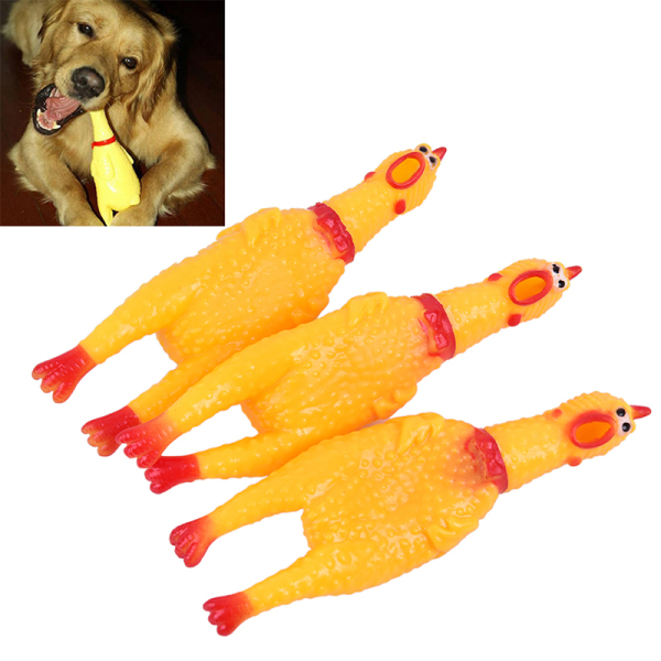Dễ Thương 1PC Dog Tiện Ích Mới Lạ Cao Su Màu Vàng Gà Pet Đồ Chơi Mới Lạ La Hét Gà