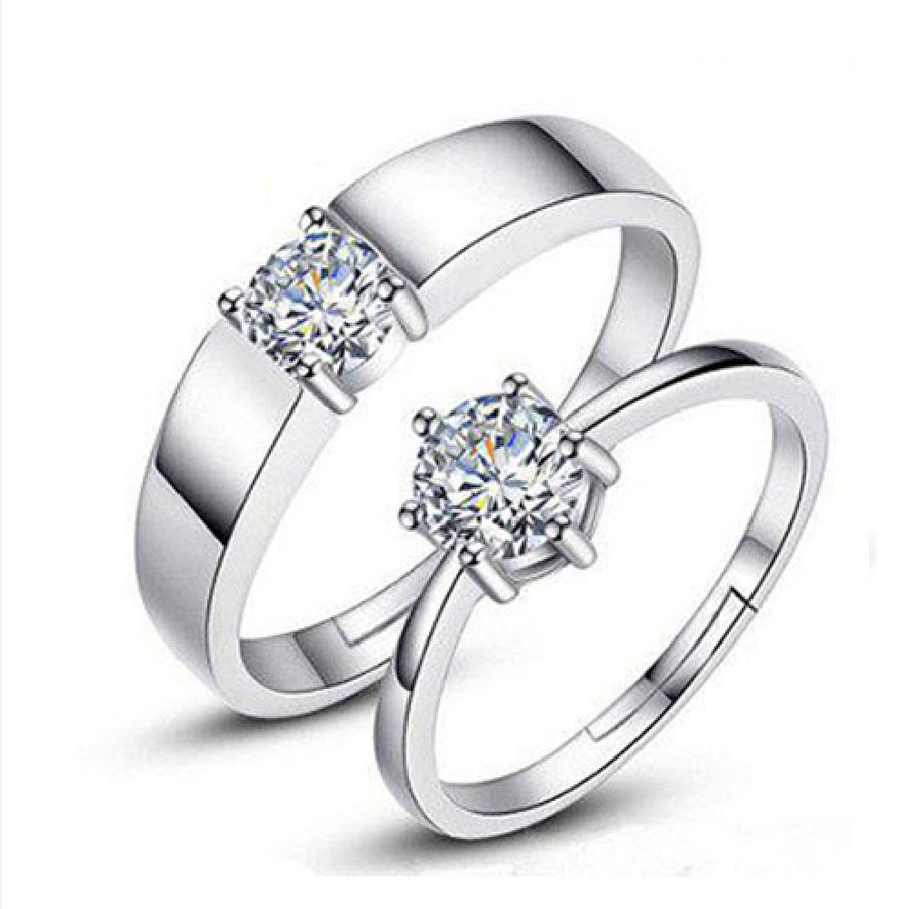 DAISY COLLECTION Sterling Cubic Diamond Couple Ring Adjustable f959e0befc