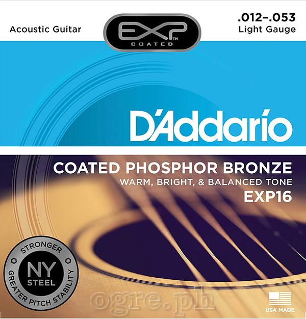 D'addario Exp16 Coated Phosphor Bronze Acoustic Guitar Strings Light Gauge By Ogre.ph.
