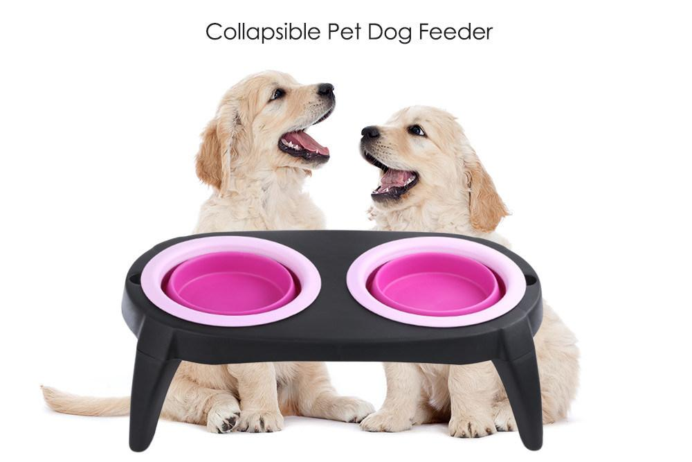 Collapsible Silicon Pet Feeder Bowl With Stand (pink) By Gonzalez General Merchandise.
