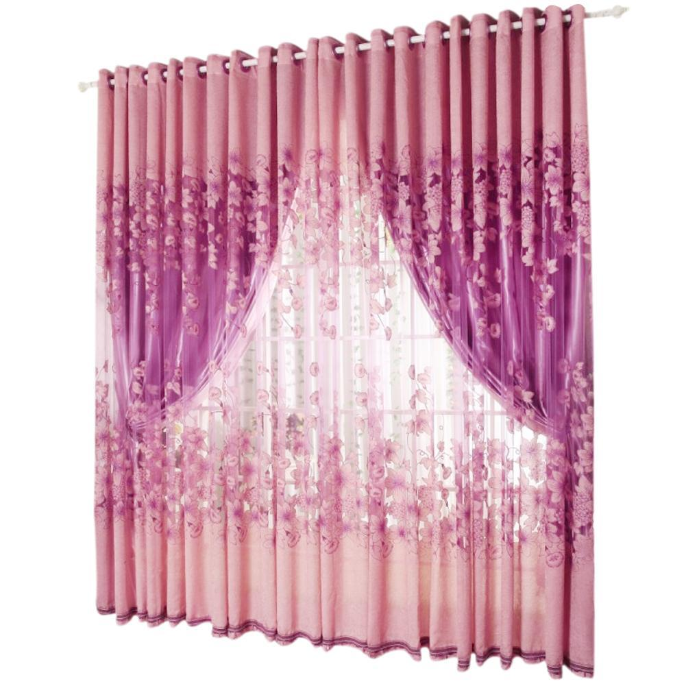 New Arrvial Morning Glory Floral Printed Sheer Voile Tulle Drapes Windows Curtains 2pcs