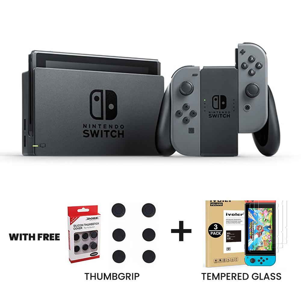 Nintendo Switch with Gray Joy‑Con (Unit) with Free Thumbgrip and Tempered  Glass