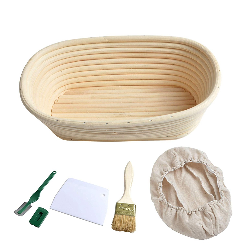 25cm 10 Inch Oval Bread Proofing Basket Sourdough Proving Linen Liner + Bread Cutter +bread Lame + Bread Brush For Professional And Home Bakers For Bakers, Bread Baskets.